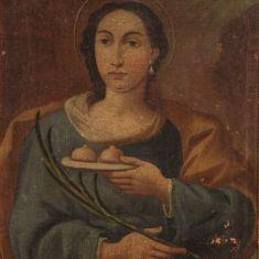 Dipinto antico religioso quadro olio su tela santa con cornice epoca 700