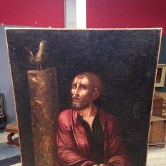Antico quadro religioso olio su tela epoca 700