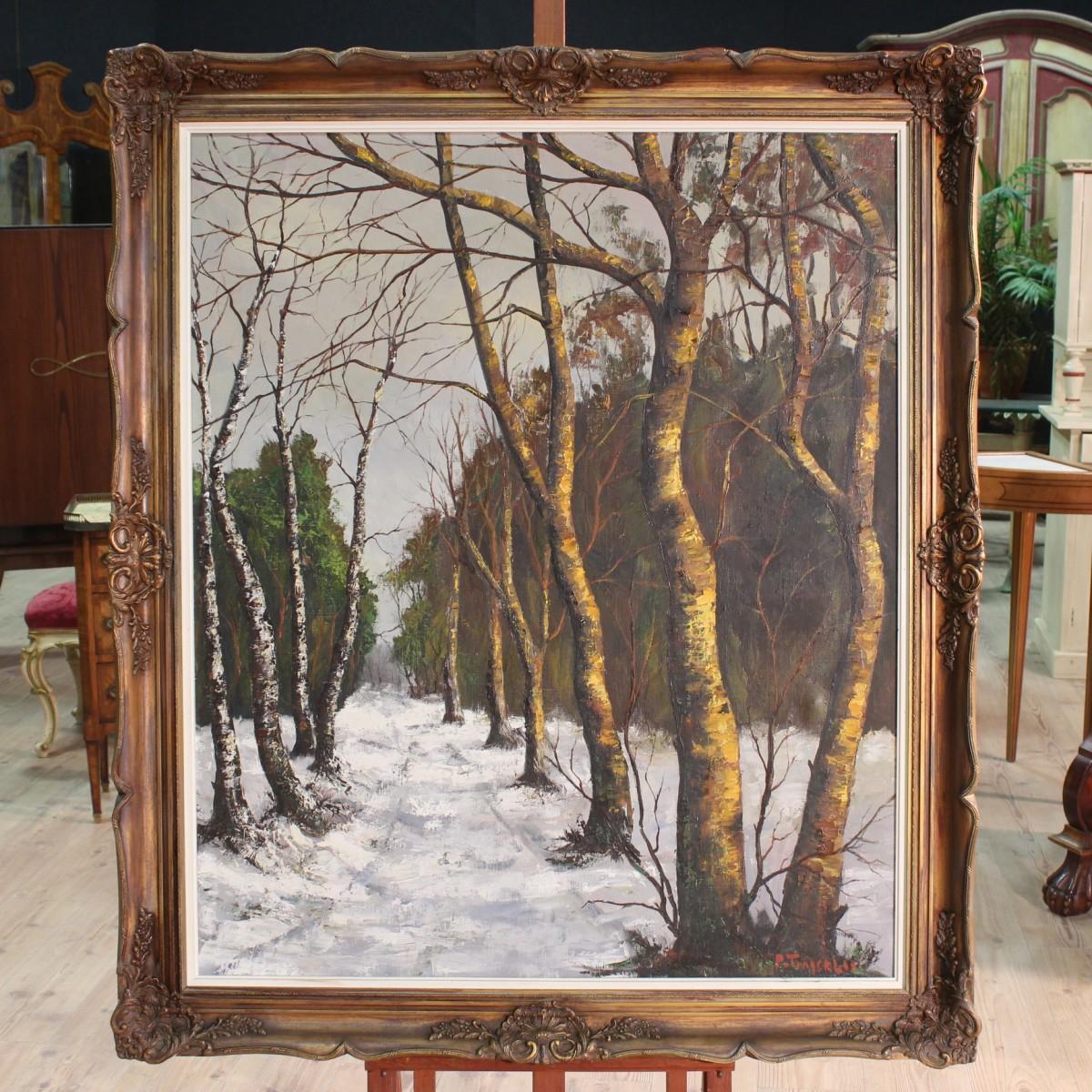 Dipinto firmato olio su tela raffigurante paesaggio for Immagini di case antiche
