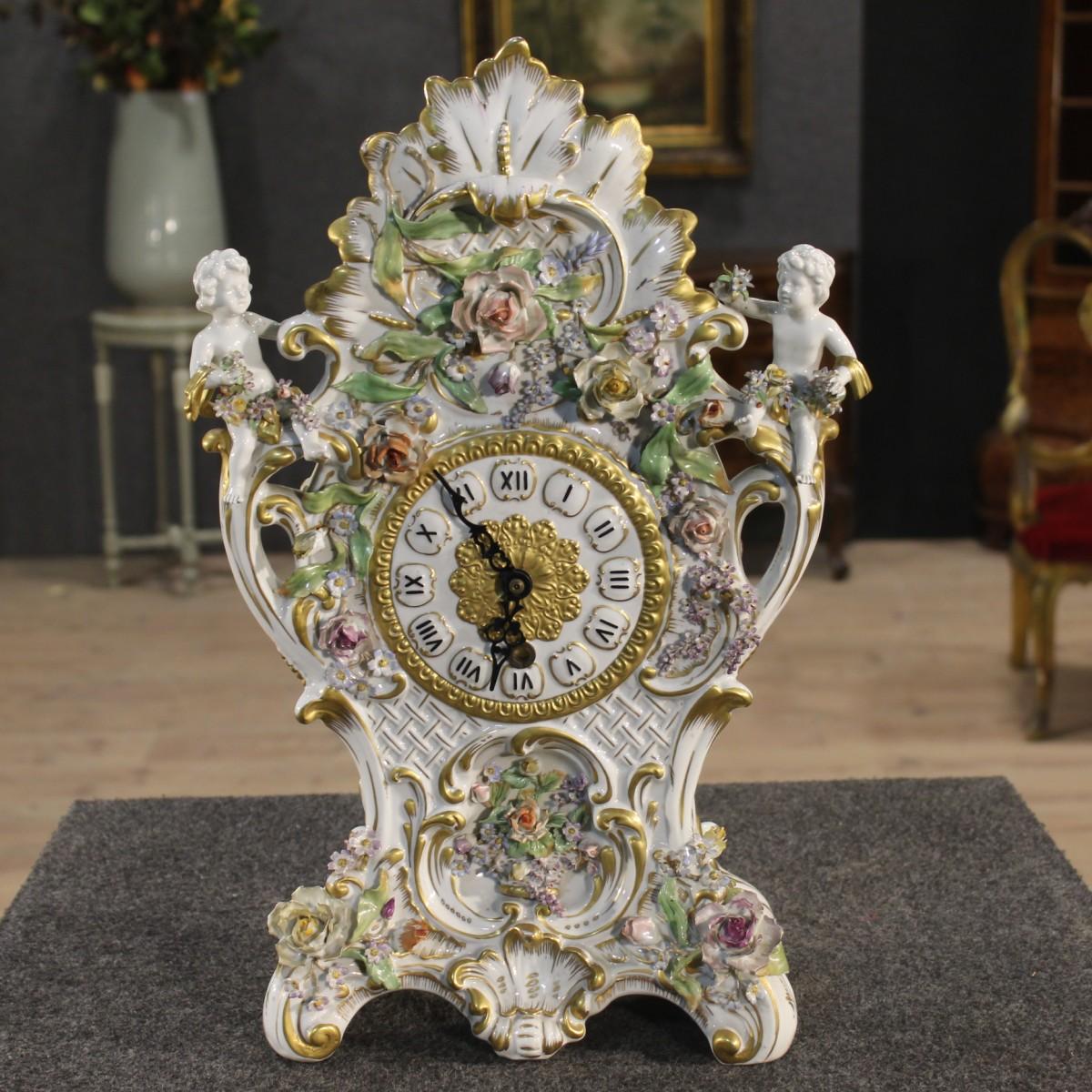 Orologio da tavolo in porcellana dorata e dipinta a mano putti italia epoca 39 900 ebay - Orologi d epoca da tavolo ...