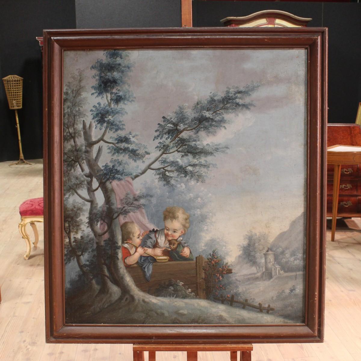 Annuncio antico dipinto francese paesaggio con bambini for Piani di fattoria del 19 secolo