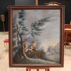 Antico quadro olio su tela paesaggio con bambini epoca 800