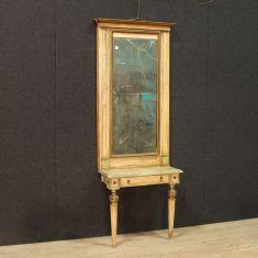 Console tavolo in legno laccato epoca 700