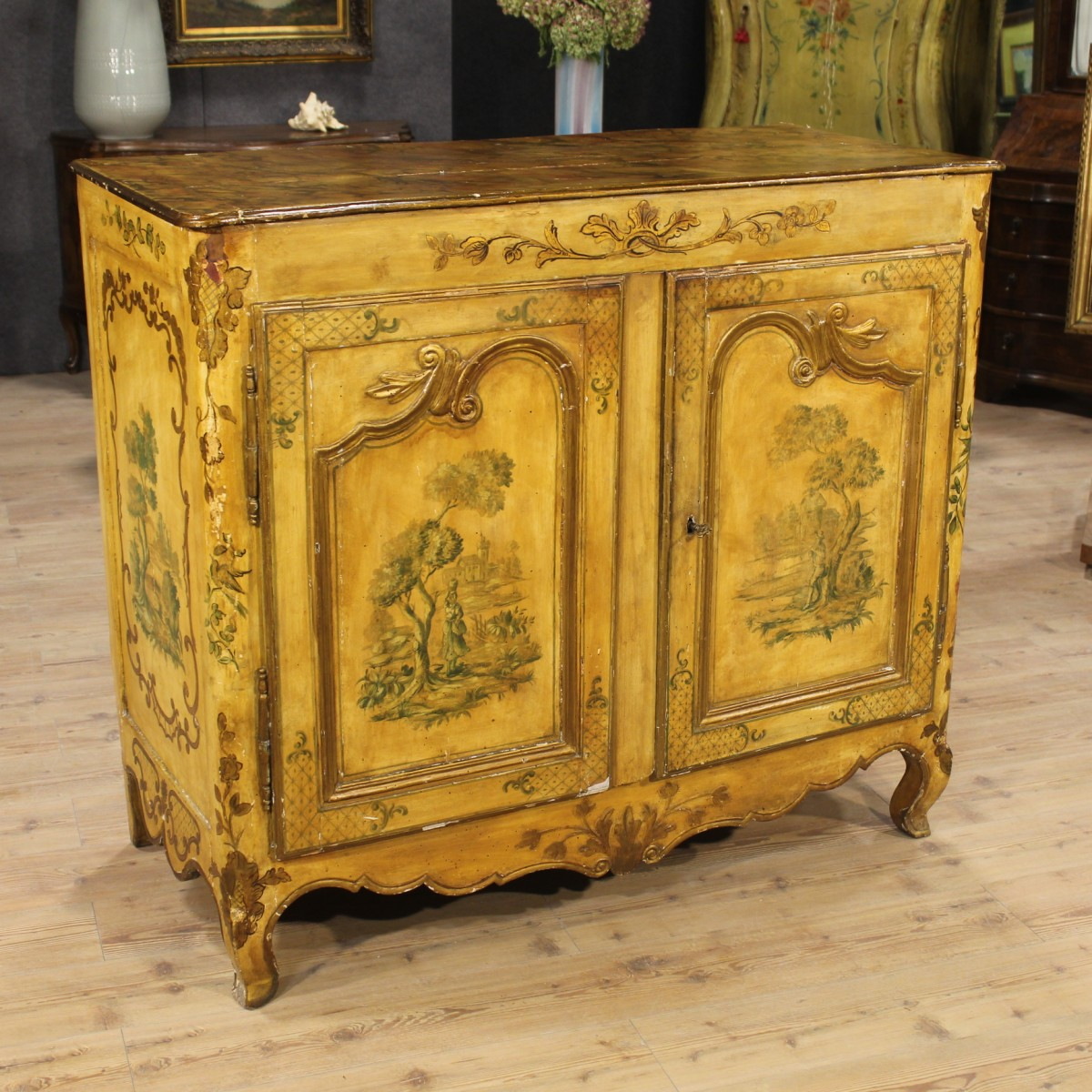 Lacquered and hand painted french sideboard of the th