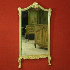 Specchiera in legno laccato e dipinto decorato con piedi ferini Italia epoca '900