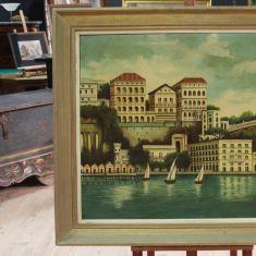 Dipinto olio su tela firmato paesaggio con barche