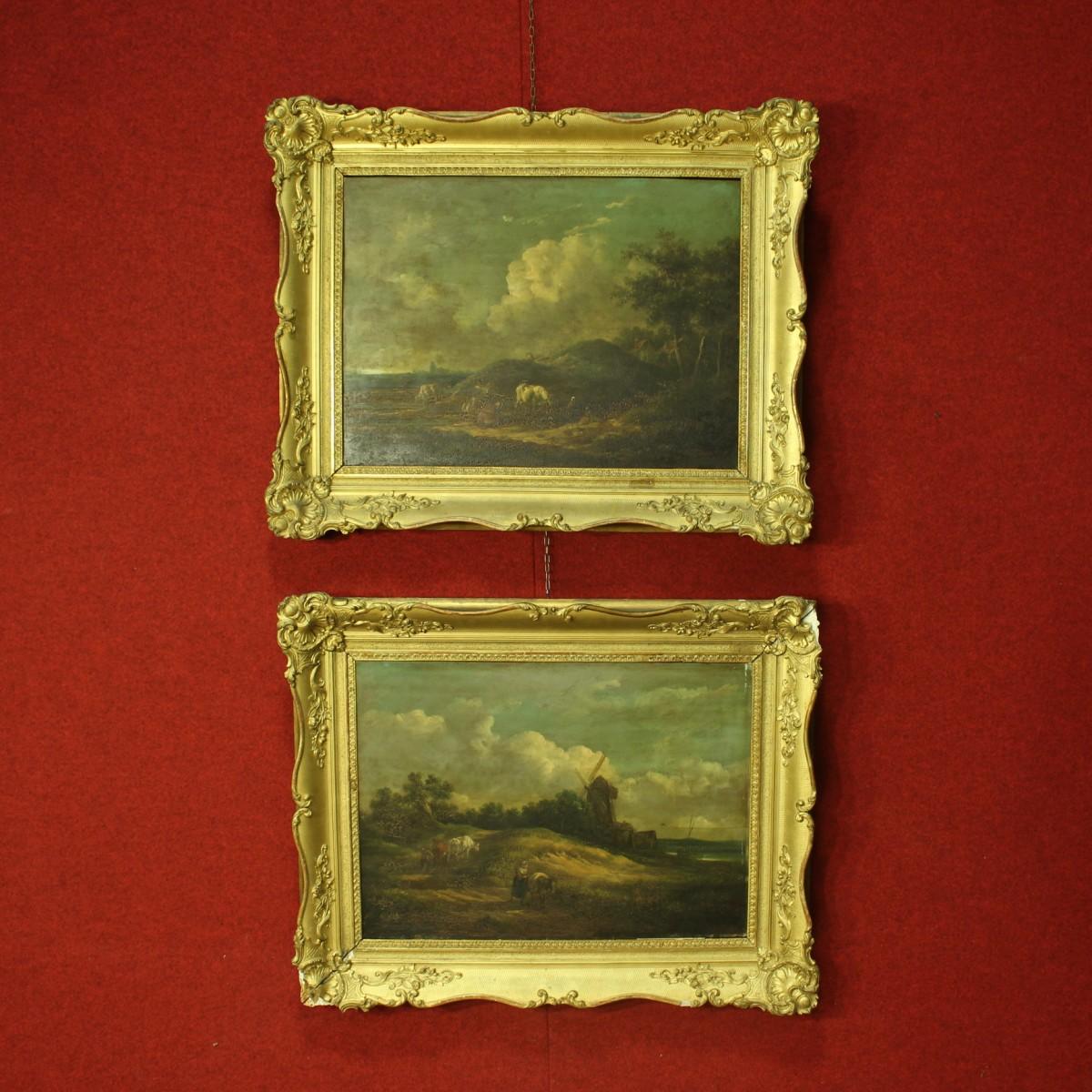 Coppia di quadri raffiguranti paesaggi del XIX secolo