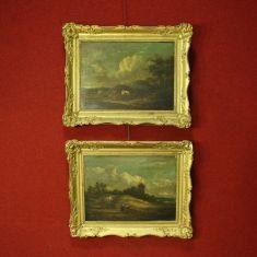 Coppia di dipinti olio su tavola Francia del Nord cornice epoca '800
