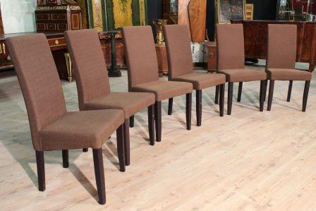 Gruppo di 6 sedie rivestite in tessuto