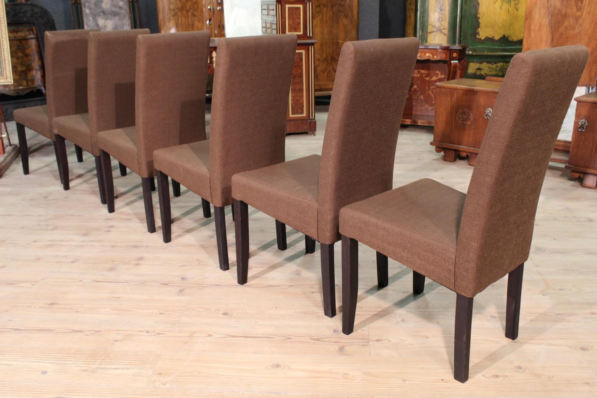 Gruppo di 6 sedie rivestite in tessuto - Vendita Online Antiquariato ...