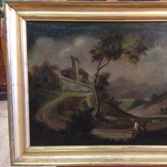 Antico dipinto raffigurante paesaggio con pastore Italia epoca primo '800