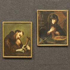 Coppia di dipinti francesi olio su tela epoca '700
