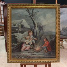 Dipinto olio su tela raffigurante paesaggio invernale con figure, Francia primi del XIX secolo