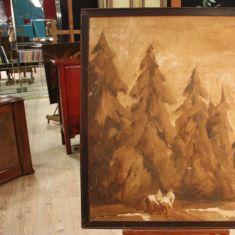 Quadro olio su tela con paesaggio di montagna e boscaioli Spagna epoca fine '800