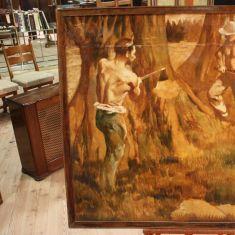 Quadro olio su tela raffigurante scena di boscaioli al lavoro epoca '800