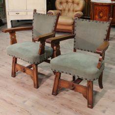 Paio di sedute in legno epoca 900