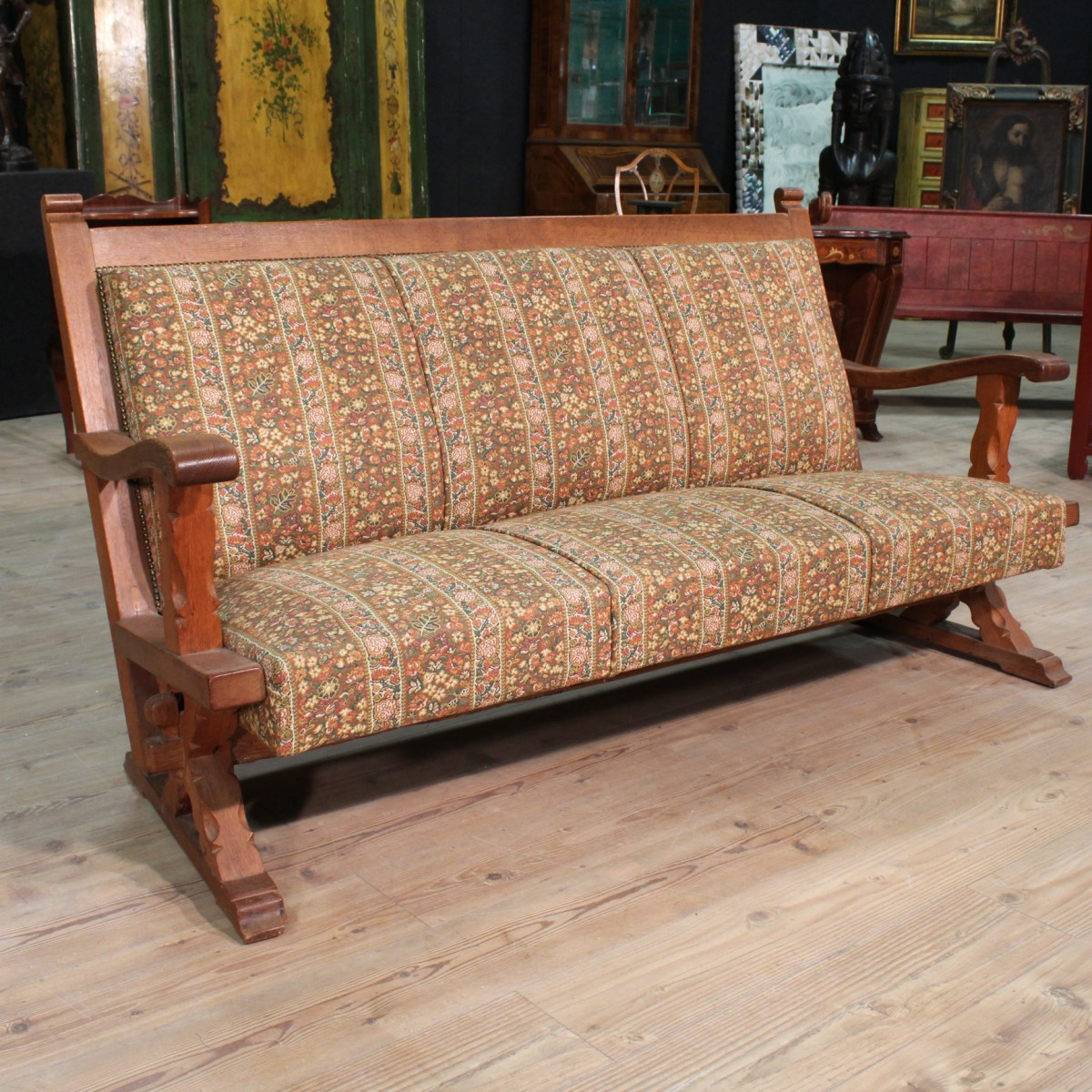 sofa rustic armchair furniture wood painted oak floral. Black Bedroom Furniture Sets. Home Design Ideas