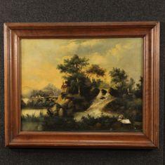 Dipinto olio su tela raffigurante paesaggio epoca '800