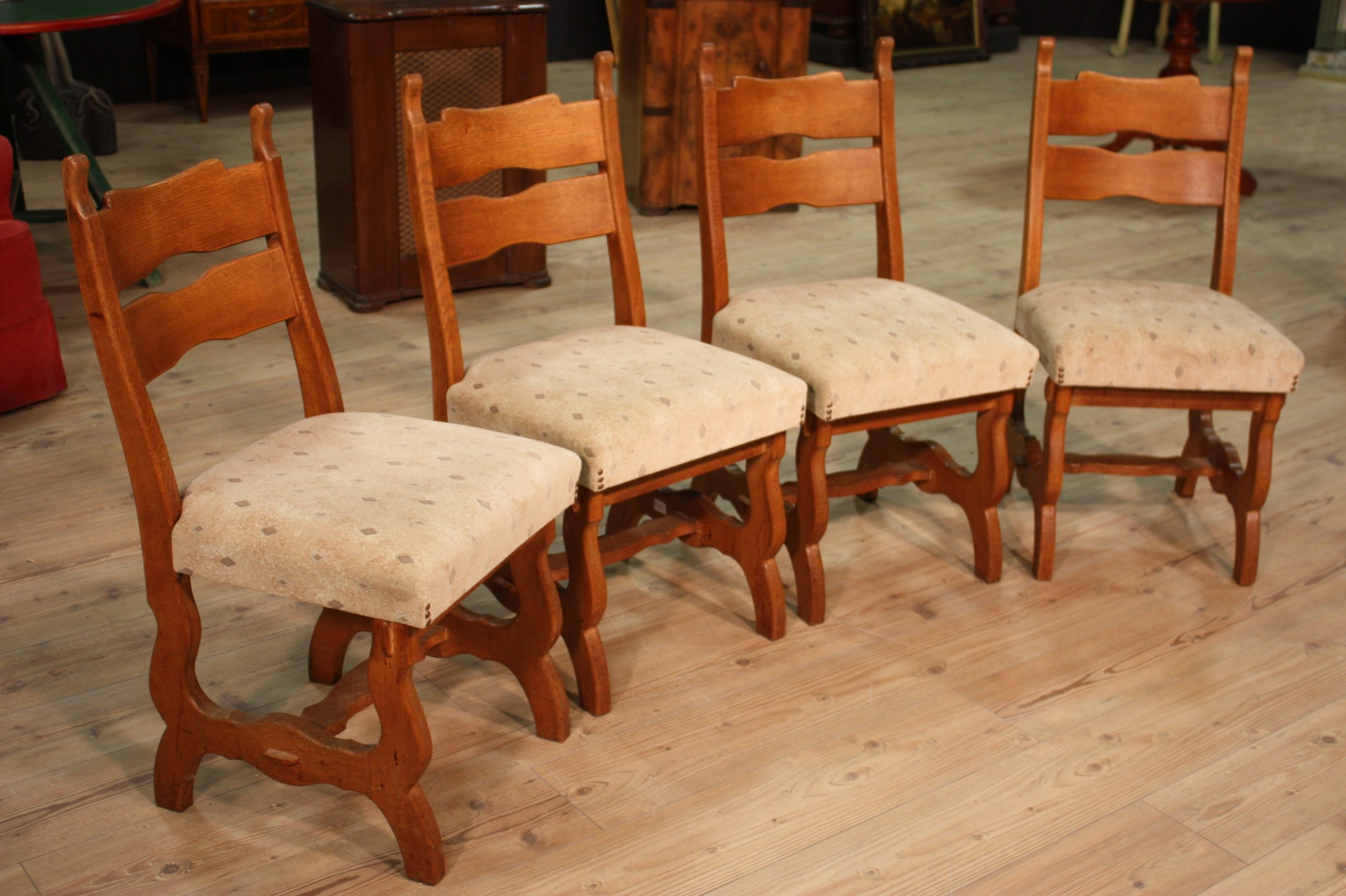 Details about Group 4 chairs rustic armchairs wood oak antique style 900  living room seats