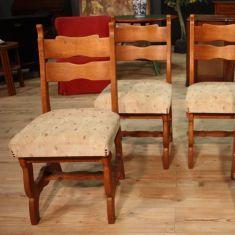 Gruppo di sedute in legno di rovere epoca 900