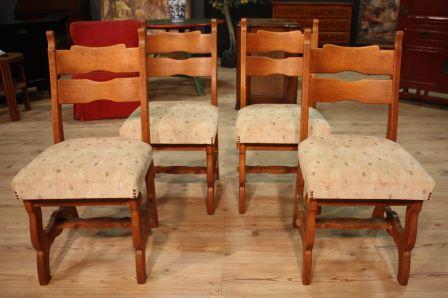 Sedie Rustiche Legno Usate.Gruppo Di 4 Sedie Rustiche Nord Europee