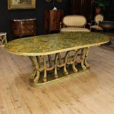 Tavolo laccato con piano finto marmo epoca 900