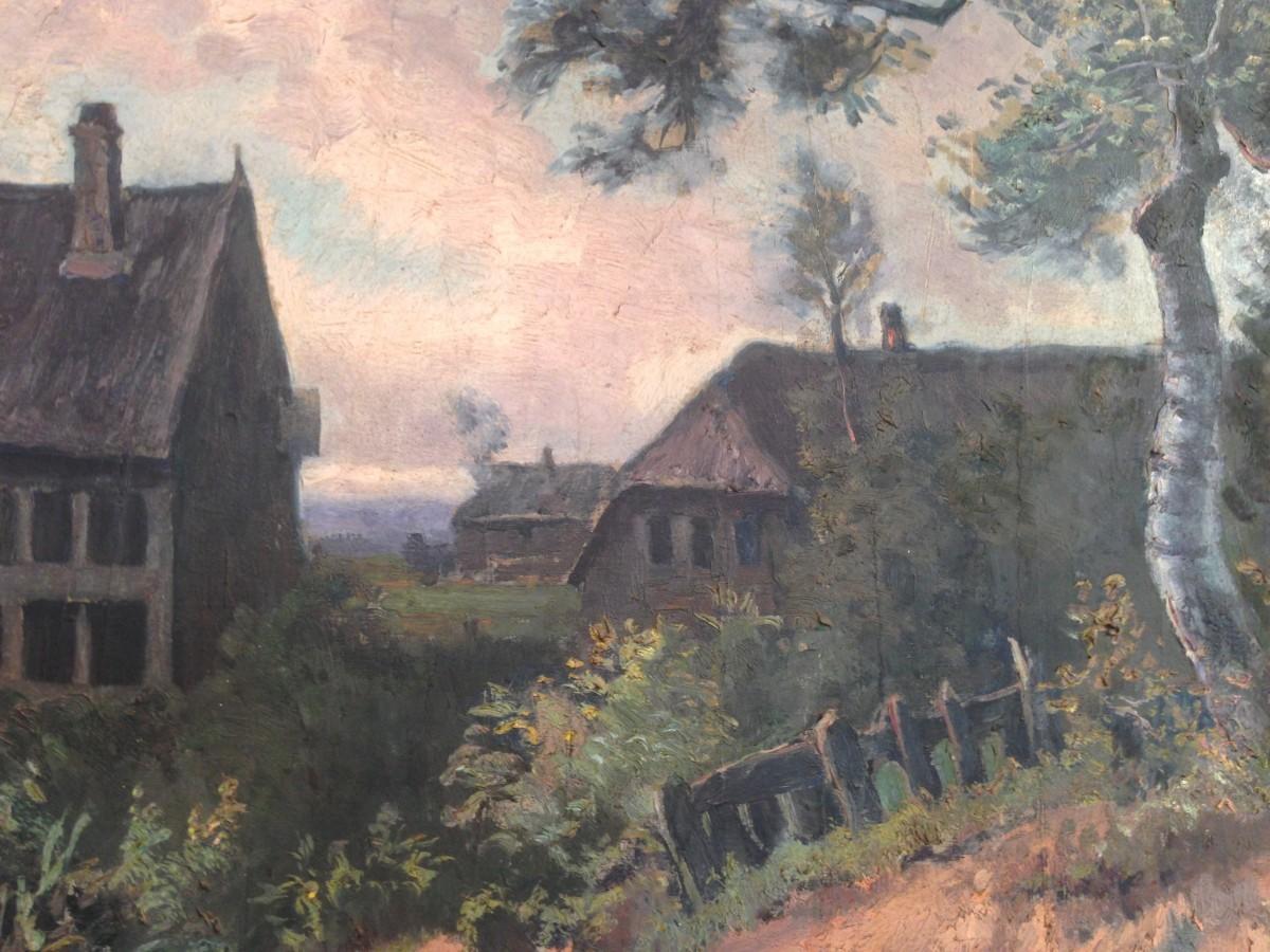 Annuncio dipinto francese ad olio su tela raffigurante for Persiane di campagna francese