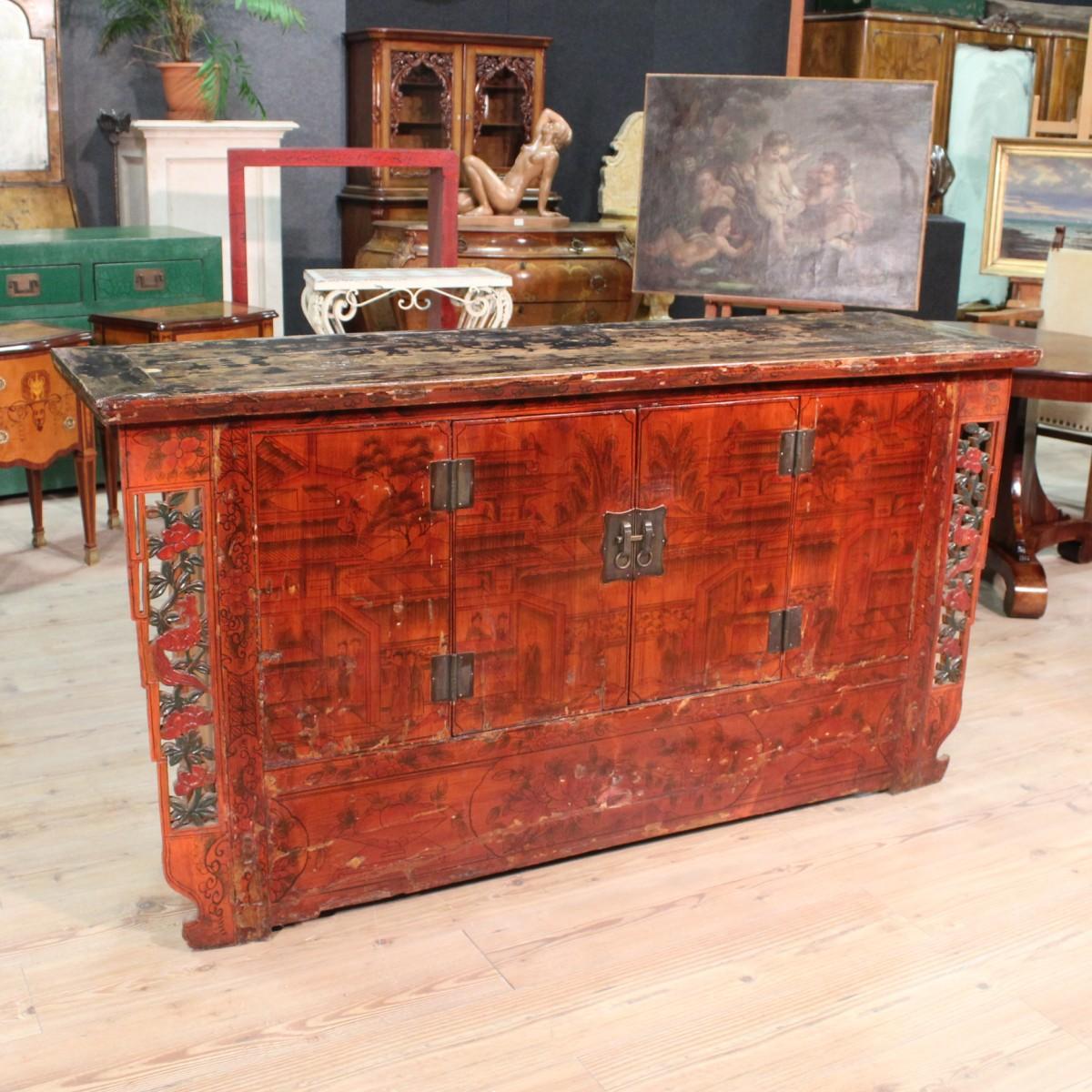 Credenza orientale legno dipinto dei primi del xx secolo - Mobili orientali ...