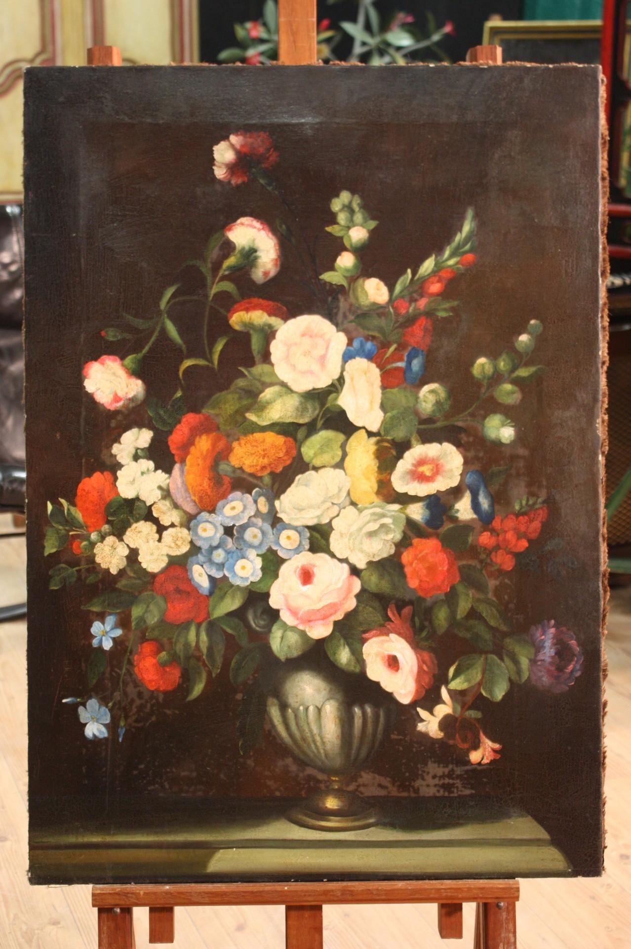 Dipinto italiano olio su tela vaso con fiori for Vasi di fiori dipinti