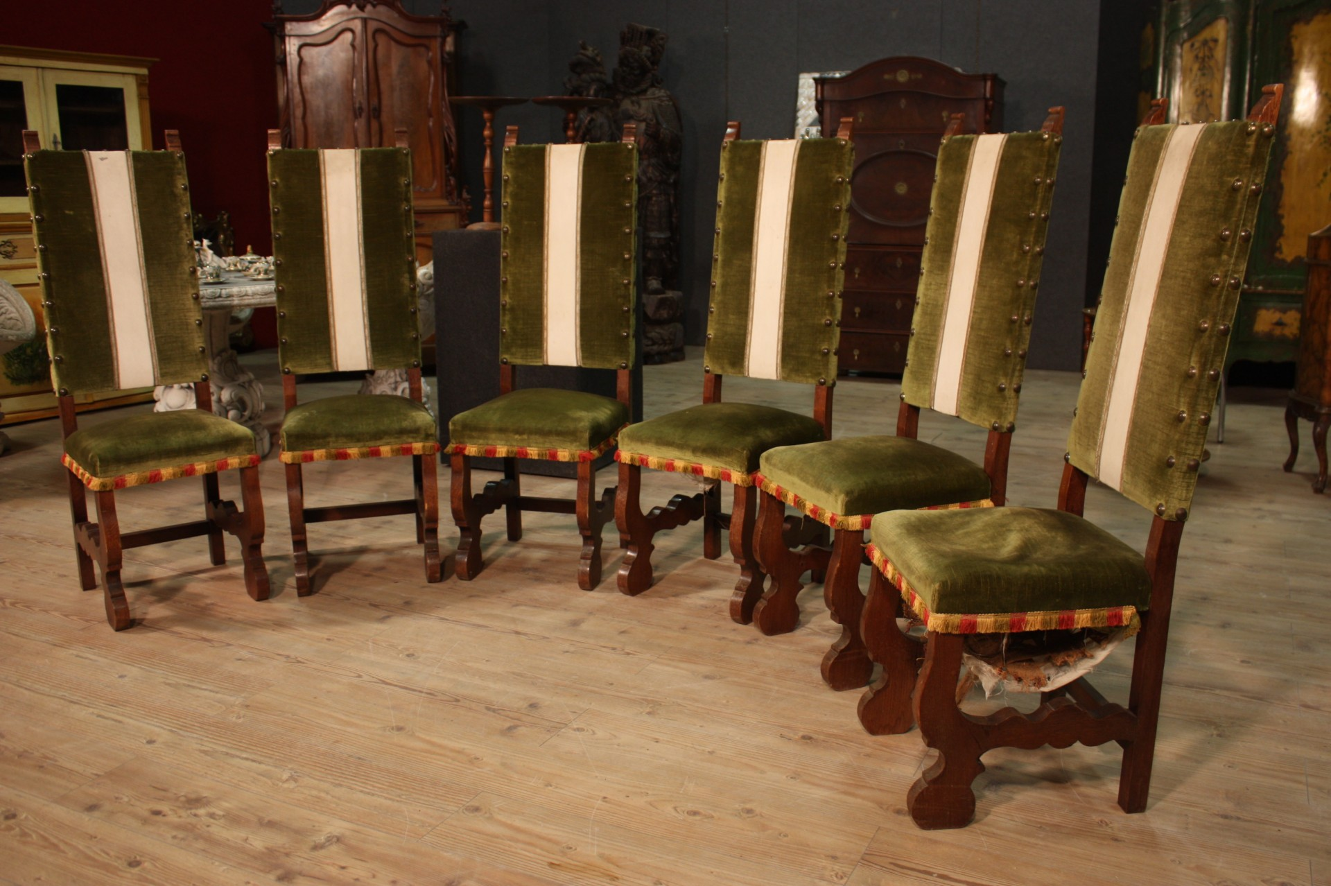 Gruppo di 6 sedie rustiche olandesi for Poltrone rustiche
