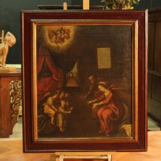 """Dipinto raffigurante soggetto di arte sacra """"Sacra Famiglia"""" Italia epoca '700"""