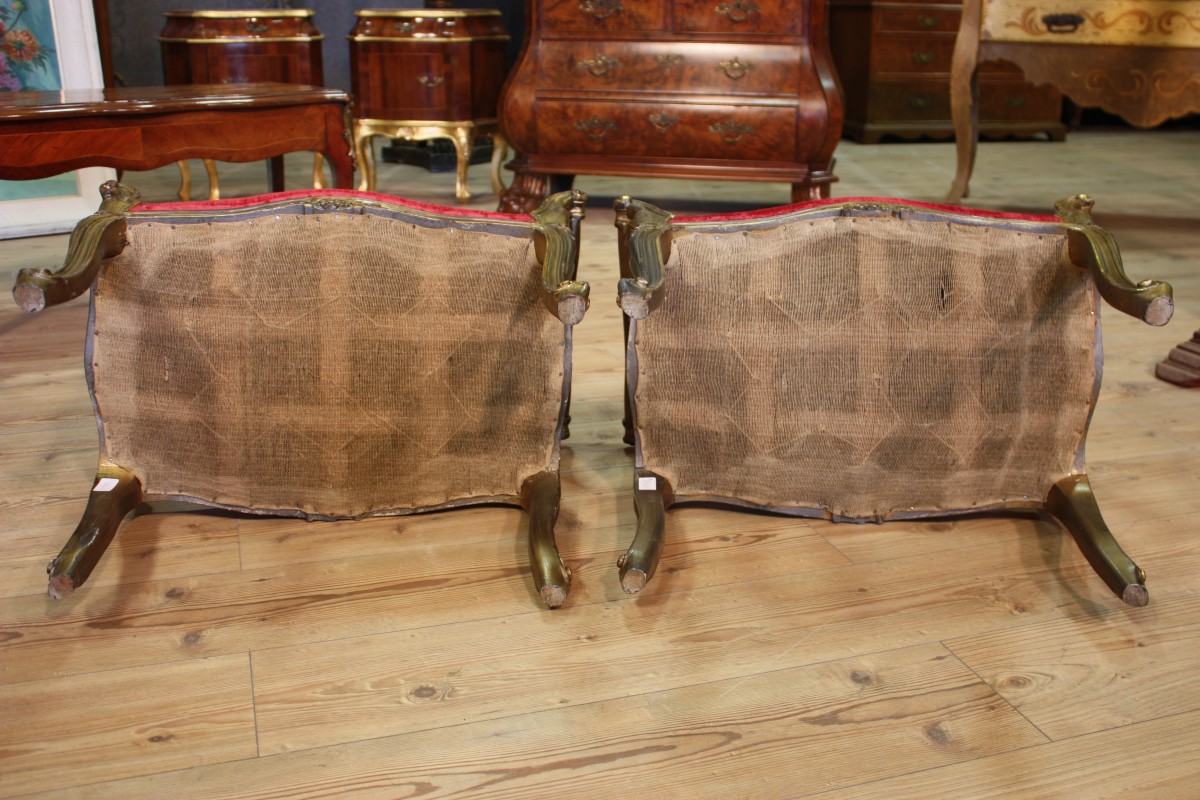 Paar sitzhocker venezianische b nke antik stil holz m beln for Versand von mobeln