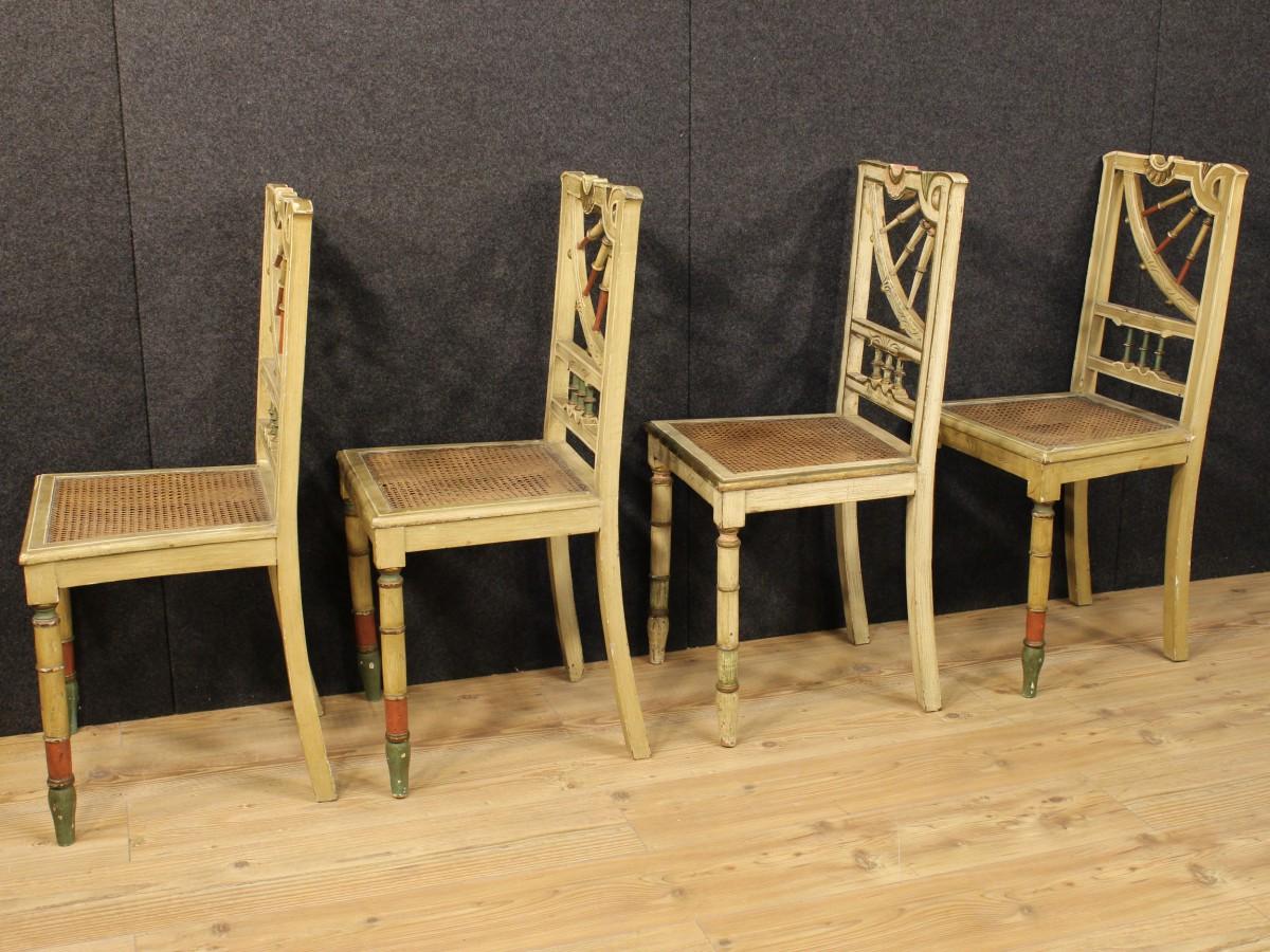 Sedie Francesi In Paglia Di Vienna : Gruppo di quattro sedie spagnole laccate vendita online