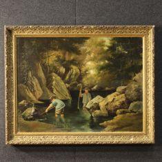 "Quadro olio su tela firmato e datato ""C. Beau 1885"" Francia"