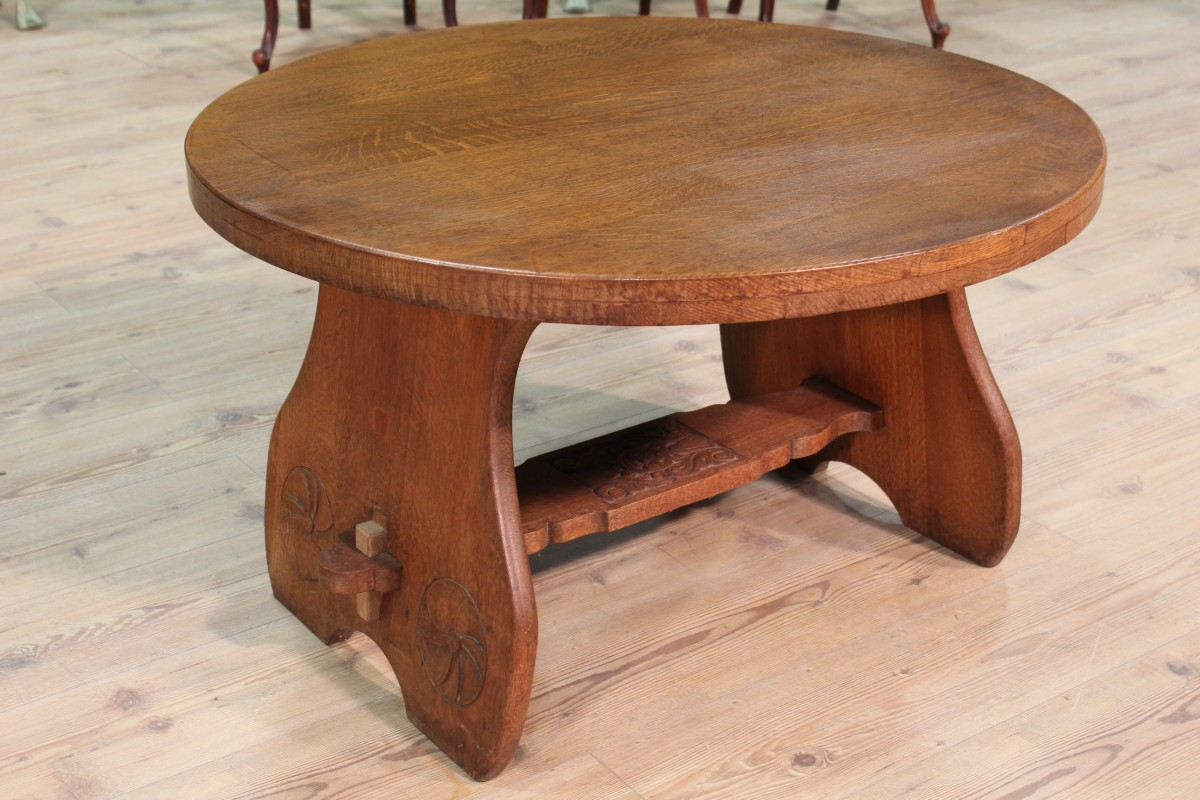 Tavolino rotondo in rovere - Vendita Online Antiquariato ...