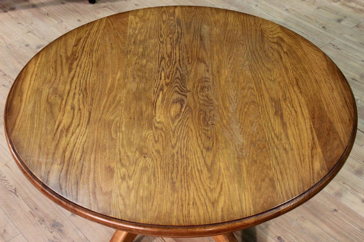 Table rustic wood oak furniture north european antique for 70s wooden couch