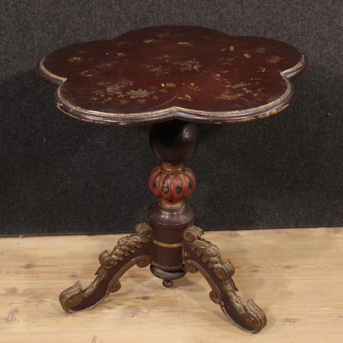 TABLE PETITE BOIS SCULPTÉ VERNI DOR CHINOISERIE FRANCE D  ~ Petite Table Bois