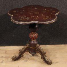 Tavolino in legno laccato, dorato con decori a cineseria Francia epoca '900