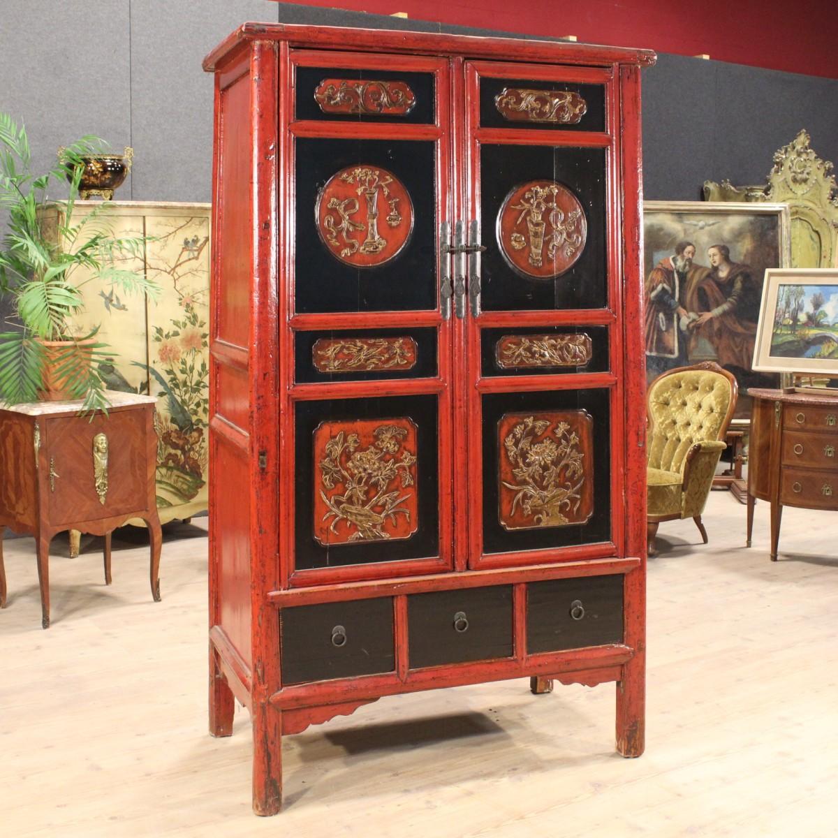 Dettagli su Armadio in legno scolpito e laccato cinese mobile stile antico  900 cassetti ante