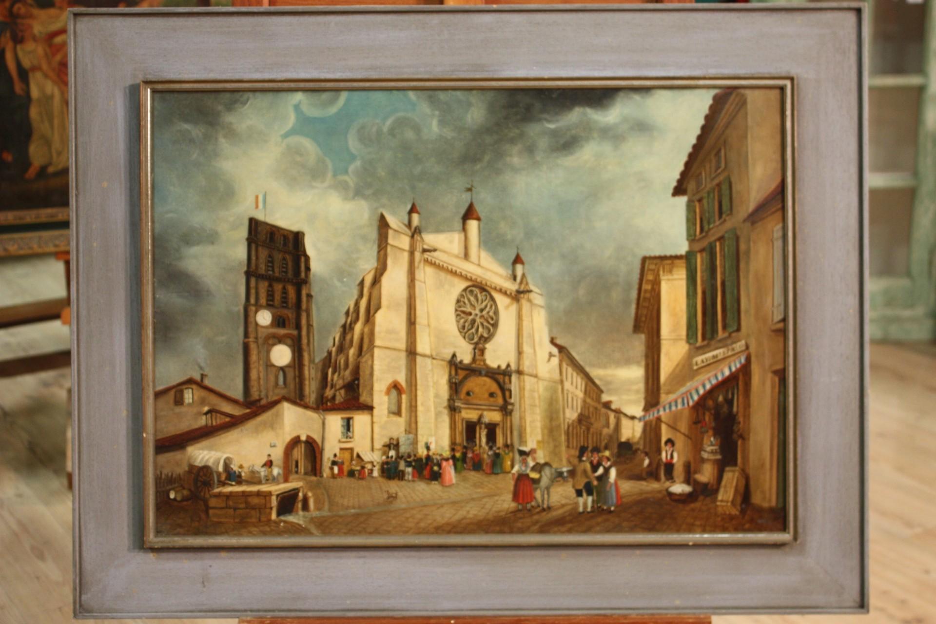 Dipinto antico paesaggio con personaggi del XIX secolo