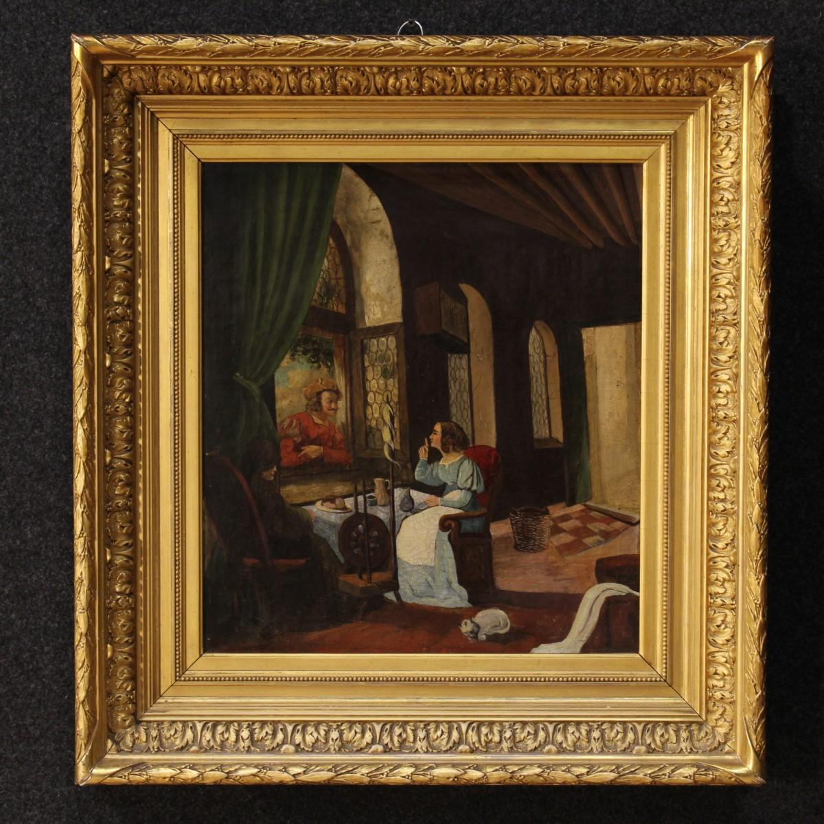 Dipinto scena di interno con personaggi del xix secolo for Piani di fattoria del 19 secolo