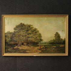 Dipinto olio su tela con cornice in legno e gesso scolpita e dorata epoca '800