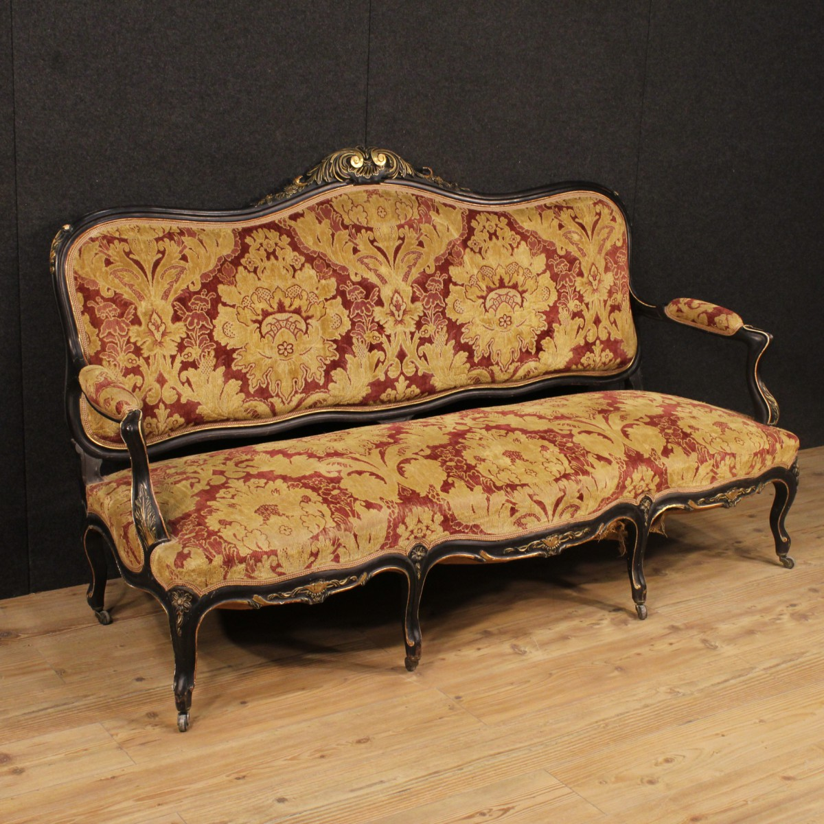 French sofa in damask velvet of the early 20th century for French divan chair