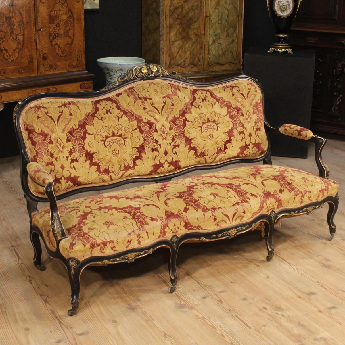 Divano francese scolpito laccato dorato salotto sof canap stile antico xx 900 ebay - Divano in francese ...
