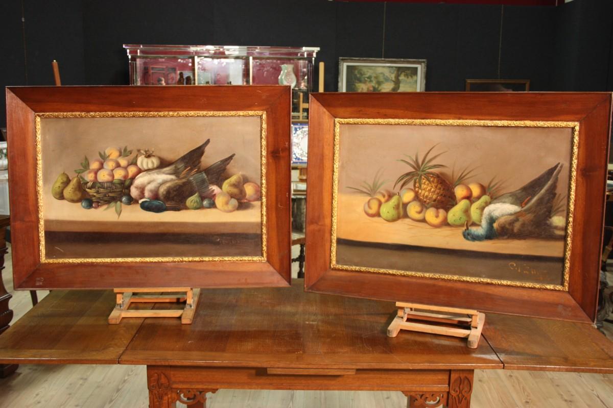 Coppia nature morte dipinti antichi olio su tela cornice quadri cacciagione 800 ebay - Ebay specchi antichi ...