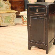 Tavolino orientale legno dipinto laccato nero epoca 900