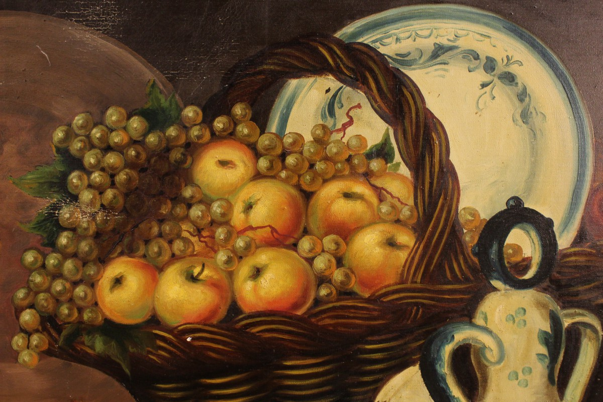 Frame painting oil on canvas spanish still life fruit signed