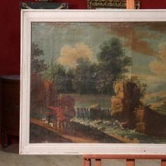 Dipinto raffigurante paesaggio con cacciatori, opera olio su tela Italia epoca '700