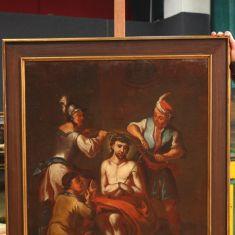 Quadro religioso olio su tela con cornice laccata e dorata epoca '700
