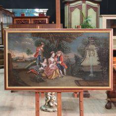 Antico quadro olio su tela paesaggio con figure epoca 800